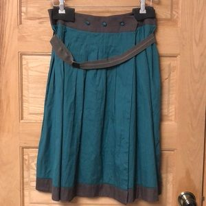 Whistles Green Circle Skirt with Belt